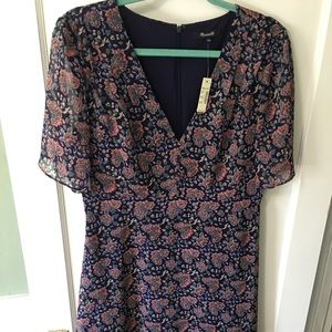 NWT Madewell V-Neck Fit and Flare Dress Sz. 10